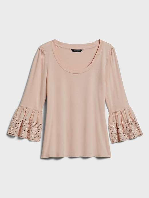 Eyelet Fluted-Sleeve Top