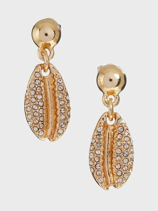 Pave Shell Drop Earrings