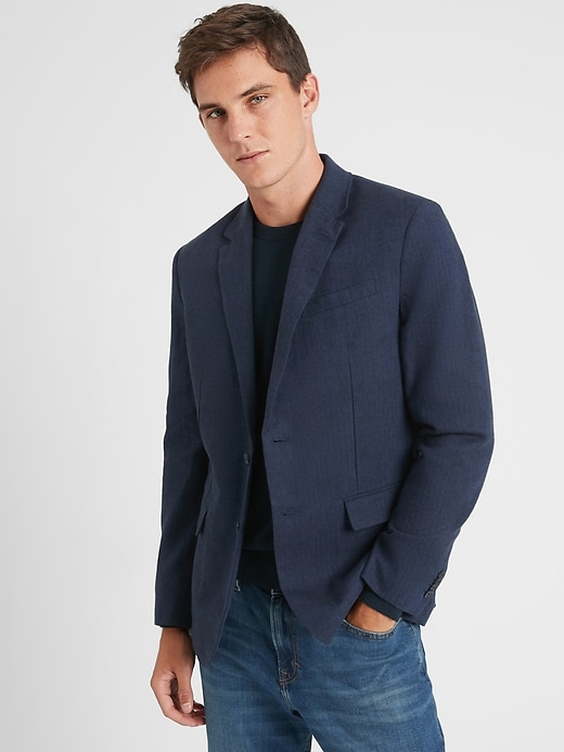 Banana Republic Slim-Fit Navy Herringbone Linen-Blend Blazer
