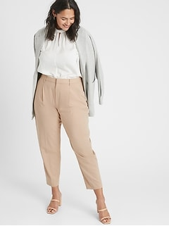 Curvy Pleat Front Heathered Tapered Pant