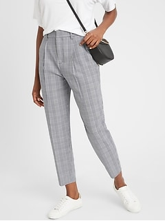 Pleated-Front Plaid Tapered Pant