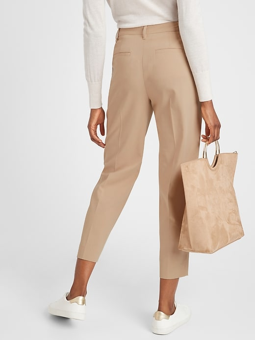 Petite Pleated-Front Heathered Tapered Pant