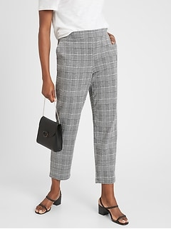 Hayden Plaid Knit Pull-On Soft Ankle Pant