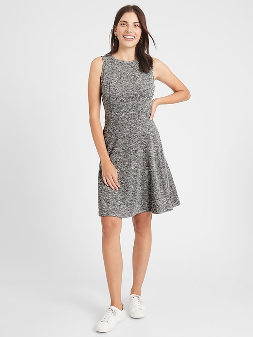 Knit Grey Fit-and-Flare Dress