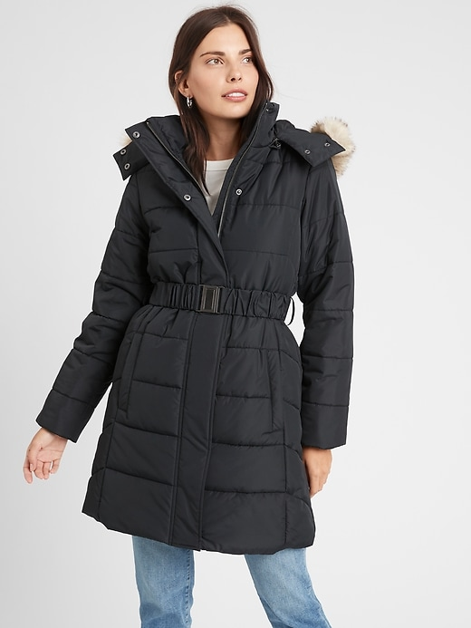 Belted Puffer Jacket With Faux Fur Collar