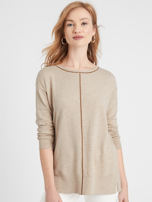 Tipping Boat-Neck Sweater