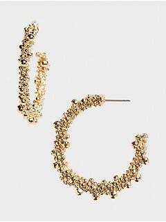Beaded Cluster Hoop Earrings