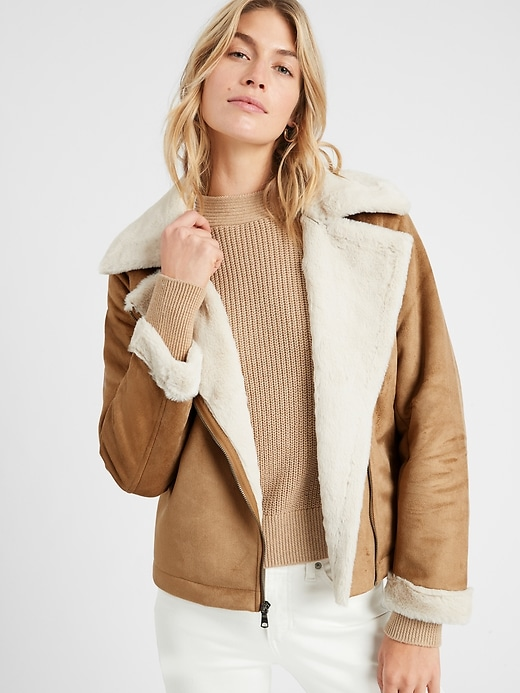 Banana Republic Women's Faux Shearling Moto Jacket