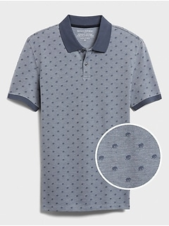 Slim-Fit Organic Cotton Microprint Pique Polo