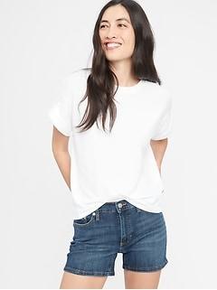 Medium Wash Denim Shorts - 4 inch inseam