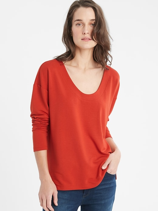 Knit Terry U-Neck Top