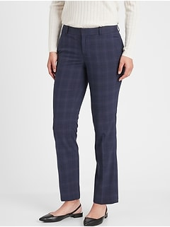 Washable Ryan Navy Plaid Slim Straight Pant