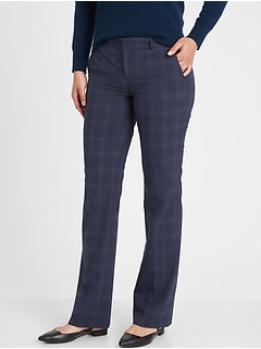 Logan Navy Plaid Tailored Trouser