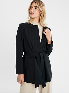 Collarless Belted Jacket