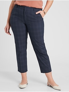 Curvy Avery Navy Plaid Tailored Ankle Pant
