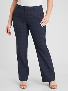 Curvy Logan Navy Plaid Tailored Trouser
