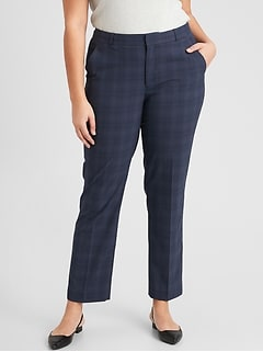Washable Curvy Ryan Navy Plaid Slim Straight Pant
