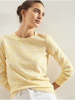 Petite Floral Print Crew-Neck Sweater